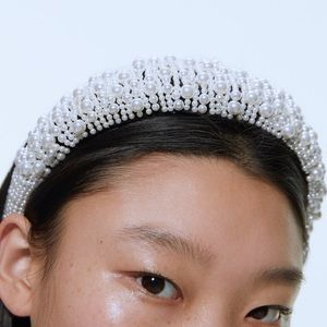 Zara quilted headband with faux pearl appliqué